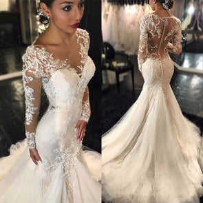 Luxury Wedding Dress Mermaid Long Sleeve Lace Beading Sequins Sexy Custom Made - Cosplay Infinity