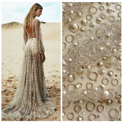 Gold Metallic Pearls Heavy Embroidered Lace Fabric Wedding One Yard - Cosplay Infinity
