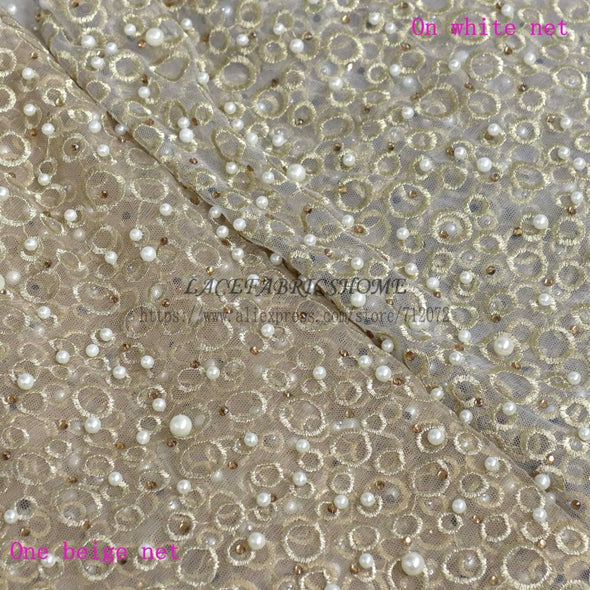 Gold Metallic Pearls Heavy Embroidered Lace Fabric Wedding One Yard