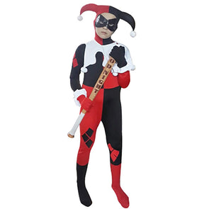 Kids Harley Quinn Costume Joker Girl Cosplay Full Bodysuit Arkham City Superhero Costumes - Cosplay Infinity