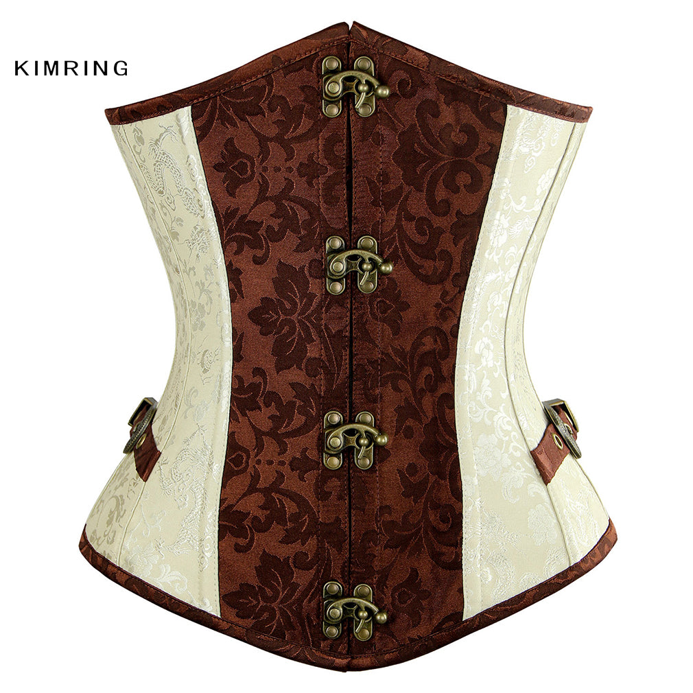 7bc6761610 Women s Plus Size Steampunk Corset Retro Brocade Steel Boned Underbust  Corsets