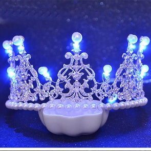 Shiny Glowing LED Tiaras Queen Crown Bridal Simulated Pearl Light Tiaras