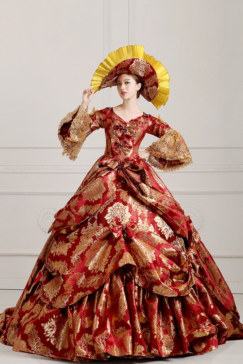 Medieval Renaissance Victorian Dresses Red Gold Costume Ball Gown S ...