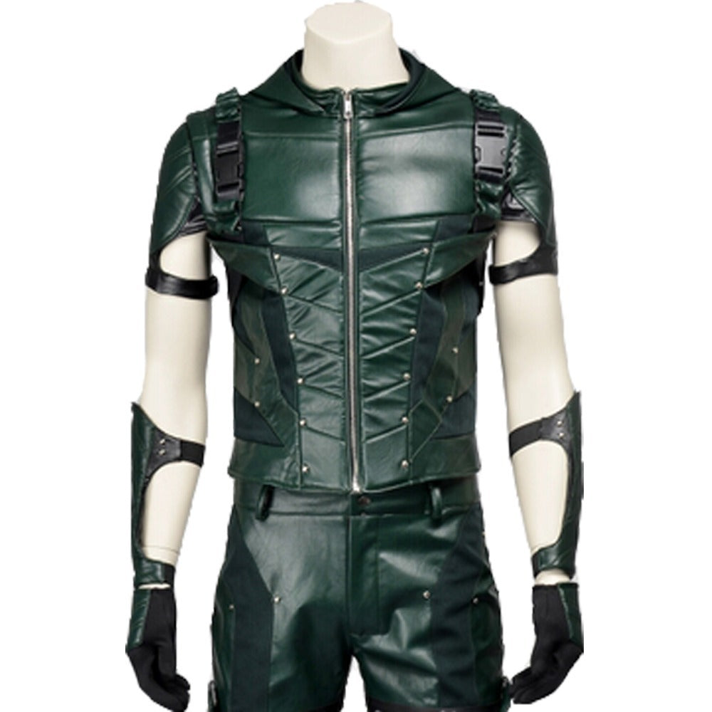 Green Arrow 4 Costume Oliver Queen Cosplay Jacket Men Halloween Party Outfit