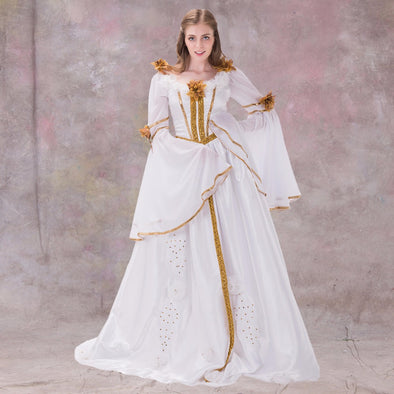 55b131df2758d4 Medieval Renaissance Dress Gothic Style White With Ribbon Dress Gown - Cosplay  Infinity