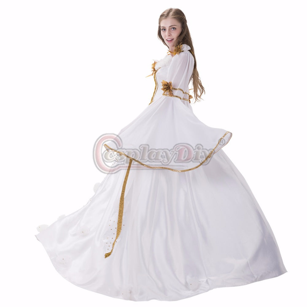 Medieval Renaissance Dress Gothic Style White With Ribbon Dress Gown ...