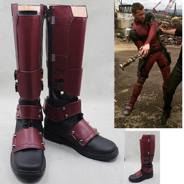 Movie X-Men Deadpool Wade Wilson Boots Cosplay Shoes Red Boots - Cosplay Infinity