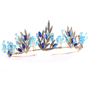 New Fashion Gold Wedding Hair Accessories Blue Crystal Tiaras Crowns - Cosplay Infinity
