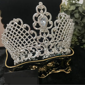 New Luxury Cubic Zircon Crown Bridal Tiaras Diadem Royal Queen Princess Pageant Cosplay Party - Cosplay Infinity