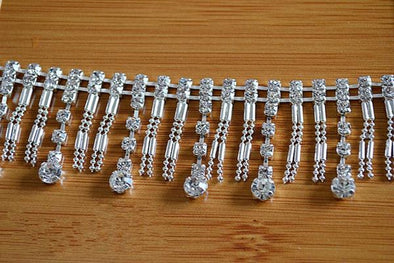 Rhinestone Tassel Lace Trim Silver Chain Belt Diamond Costume Accessories - Cosplay Infinity