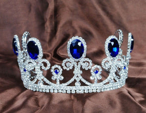 Royal Blue Crystal Tiaras Rhinestones Crowns Cosplay Costumes Bridal Hair Accessories - Cosplay Infinity