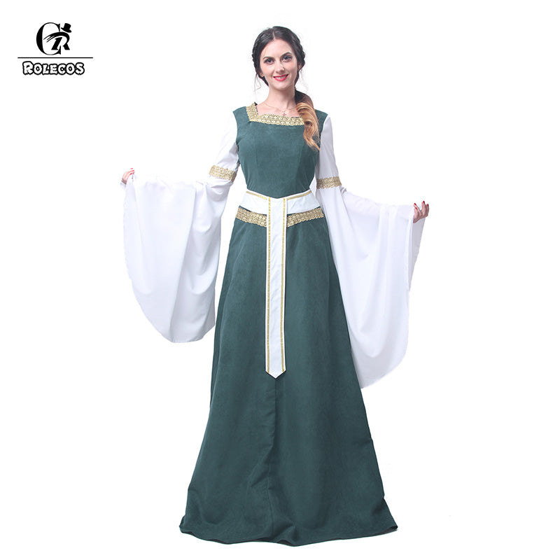 142668ca35a3f European Dress Medieval Renaissance Clothing with Belt Green Cosplay C –  Cosplay Infinity