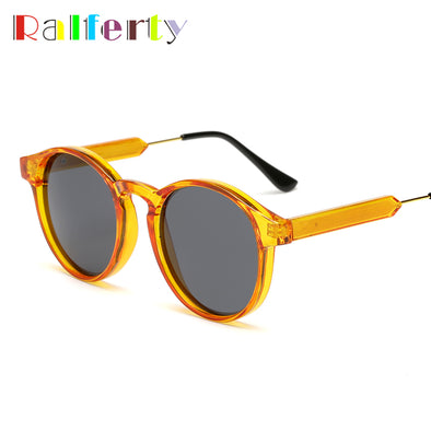 Ralferty Brand Designer Round Sunglasses Women Men Vintage Black - Cosplay Infinity