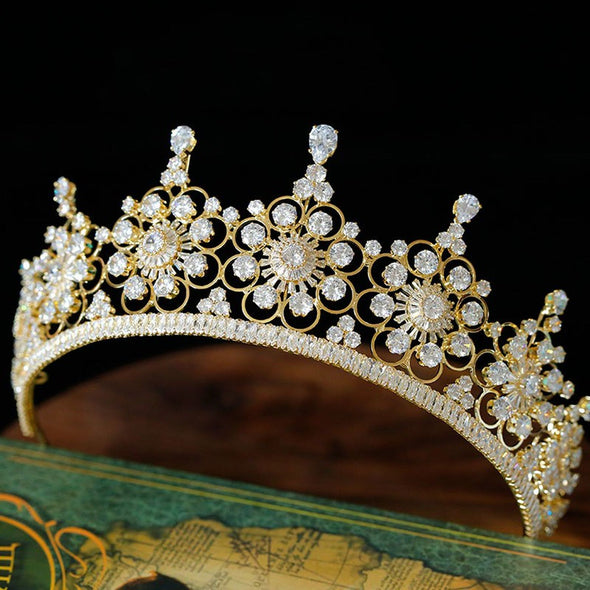 New Luxury European AAA Zircon Bridal Crowns Tiaras for Women Gold Royal Cubic Zirconia
