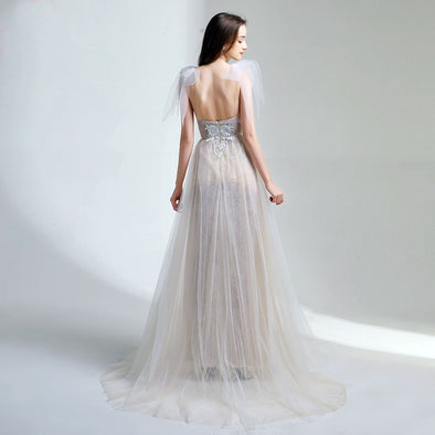 New Sexy Lace Evening Dress Sleeveless Sweep Train Backless Formal Prom Gowns Wings Custom Made - Cosplay Infinity