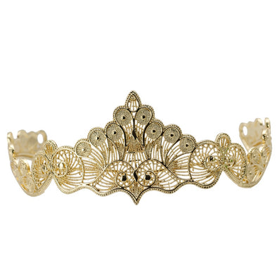 Gold Color Wedding Tiaras Hair Jewelry Hollow Out Metal Wave Line Crown - Cosplay Infinity