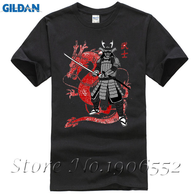 37f64901188 Samurai Japan Dragon T-shirt Men Costume Short Sleeve Crewneck Cotton Plus  Size Couple Tshirts