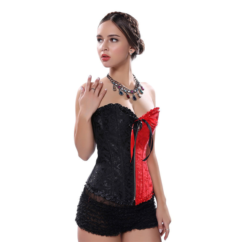 ecddd9e42 Women Sexy Black Red Gothic Overbust Corset Bustier Cosplay Plus Size
