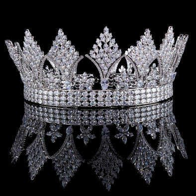 Silver Clear Crystal Cubic Zircon Bridal Tiara Crown Cosplay Wedding - Cosplay Infinity