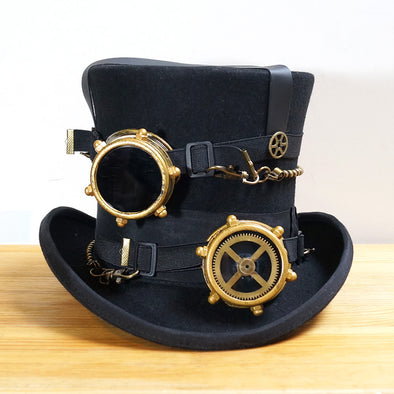 Vintage Wool SteamPunk Hat Custom Daft Punk Metal Goggles Vintage Glasses