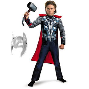 SuperHero Kids Muscle Thor Cosplay Costumes Clothes Jumpsuit With Hammer Avengers