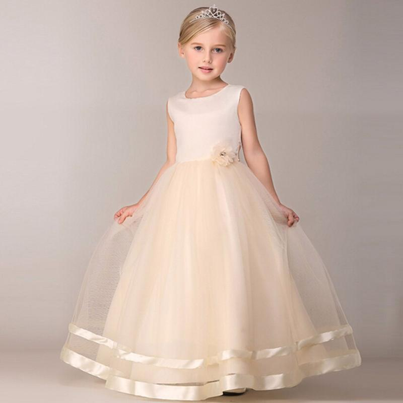 Sweet Princess Flower Girl Dress Summer Tutu Wedding Long Formal