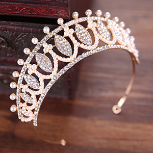 Classic Gold Wedding Hair Accessories Bride Tiaras And Crowns Women