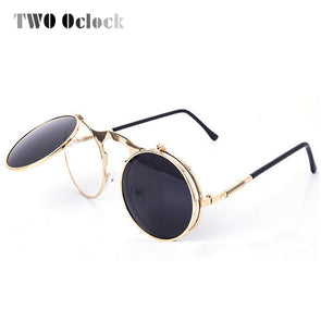TWO Oclock Vintage Steampunk Goggles Round Sun Glasses For Women Men Retro Double Flip Punk Sunglasses Myopia Spectacles Oculos - Cosplay Infinity