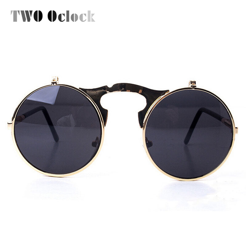 19d3def86d TWO Oclock Vintage Steampunk Goggles Round Sun Glasses For Women Men Retro  Double Flip Punk Sunglasses Myopia Spectacles Oculos