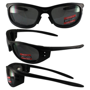 Tyler Black Frame Smoke Lenses Riding Glasses ANSI Z87.1, Shatterproof - Cosplay Infinity