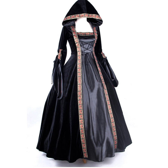 Women's Deluxe Hooded Collar Victorian Dress Costume Larger Sizes Custom - Cosplay Infinity