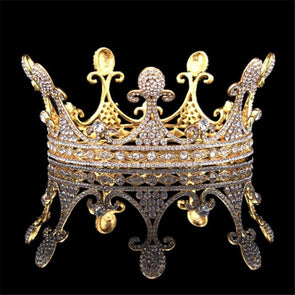 Vintage Baroque Queen King Bride Tiara Crown Cosplay Renaissance - Cosplay Infinity
