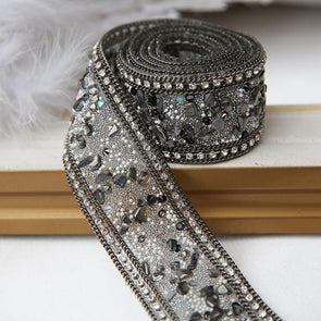 High-grade Black Beaded Lace Fabric Trim Decorative Wedding Costume Trimming