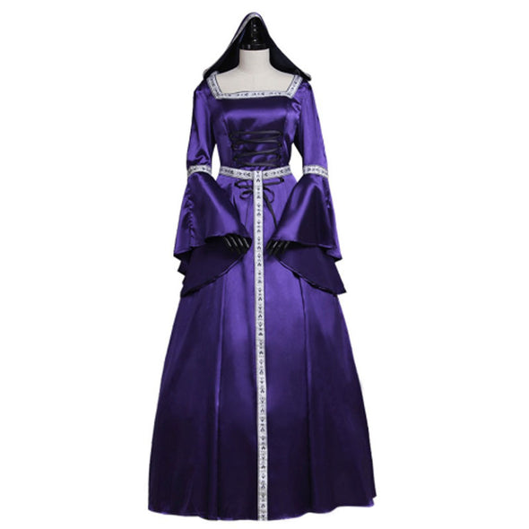 Women's Purple Renaissance Medieval Dress Hooded Dress Custom Made - Cosplay Infinity