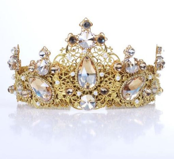 ANAÉ - Elegant Gold Champagne Crown Gold Wedding Wreath Headband Tiara