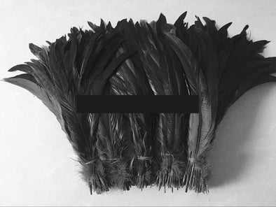 100 PCS Natural Rooster Feathers Black Feathers Decoration Crafts Wedding Cosplay - Cosplay Infinity