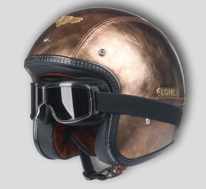 Leather PU harley casco moto vintage motorcycle helmet - Cosplay Infinity