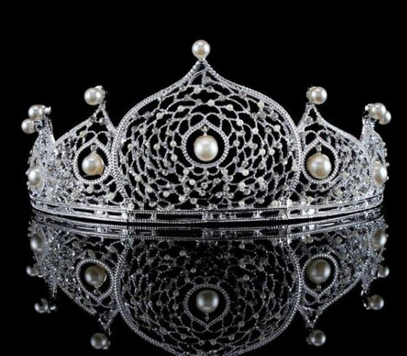 Gothic Pearl Bridal Crowns Tiaras Wedding Hair Accessories Bride Baroque Cosplay Crown Silver Hair Jewelry