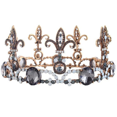 Baroque Arty Men Large Crystal Full Round King Crown Wedding Stage Cosplay