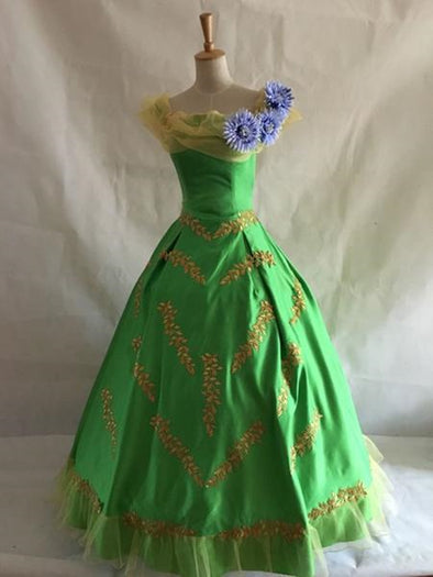 Disney Princess Green Golden Leaf Flower Alice Court Ball Gown Tweens - Cosplay Infinity