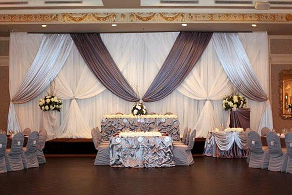 10ft x 20ft White Wedding Backdrop Grey Swags Stage Curtain Wedding Decoration