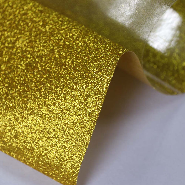 "50x300cm Gold Glitter Heat Transfer Vinyl 20""x10ft Iron-On Sheets Cosplay"