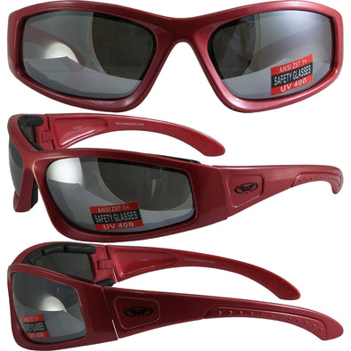 c36db6bbf9 Triumphant Red FRAME Motorcycle Padded Glasses Z87+ Flash Mirror LENS - Cosplay  Infinity