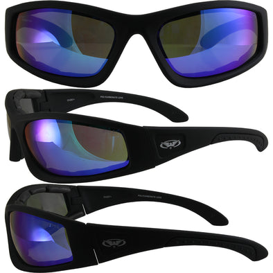 58a806d26a Triumphant BLACK FRAME Motorcycle Padded Glasses Z87+ GT BLUE REVO LENS - Cosplay  Infinity