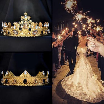 SOLANGE Gold Wedding Bride and Groom Crowns Cosplay