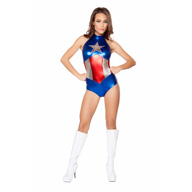 Roma Costume 1 Piece Enhanced American Hero Costume Blue/Silver/Red - Medium - Cosplay Infinity