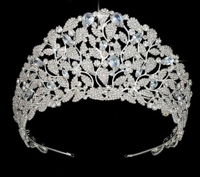 Crown Tiaras AAA Cubic Zirconia Pave Silver Gold - Cosplay Infinity