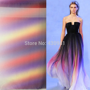 new arrive imitated silk fabric 100d chiffon colorful gowns dress material gradual chiffon fabric sheer - Cosplay Infinity