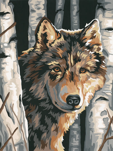 "Paint Works Paint By Number Kit 9""X12""-Wolf Among Birches - Cosplay Infinity"