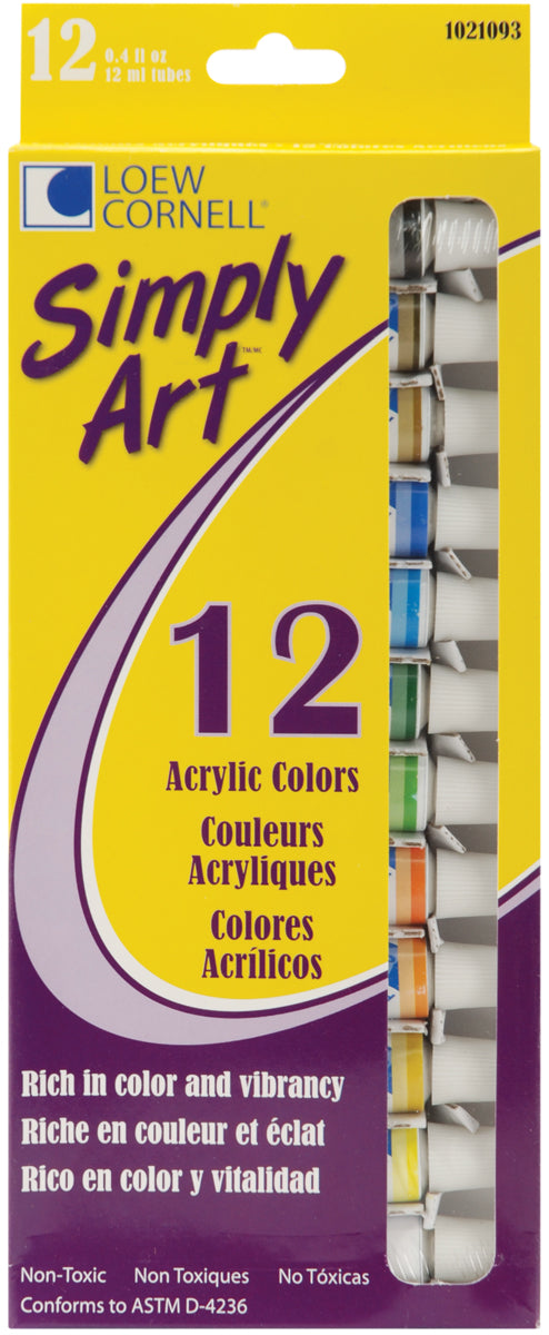 Simply Art Acrylic Paints 12ml 12/Pkg-Assorted Colors - Cosplay Infinity